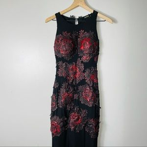 Celo Evening Gown Red Appliqué Roses